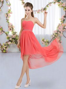 Chiffon Strapless Sleeveless Lace Up Beading Quinceanera Dama Dress in Watermelon Red
