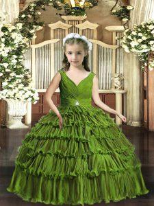 Best V-neck Sleeveless Backless Kids Pageant Dress Olive Green