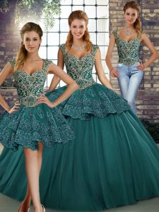 Flare Floor Length Green Quinceanera Gowns Straps Sleeveless Lace Up