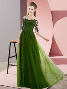 Olive Green Quinceanera Dama Dress Wedding Party with Beading and Lace Bateau Half Sleeves Lace Up
