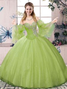 New Style Olive Green Ball Gowns Sweetheart Long Sleeves Tulle Floor Length Lace Up Beading Quinceanera Dress