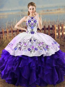 Clearance Sleeveless Lace Up Floor Length Embroidery and Ruffles Sweet 16 Dress