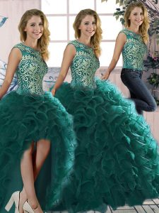 Customized Peacock Green Three Pieces Beading and Ruffles Quinceanera Gowns Lace Up Organza Sleeveless Floor Length