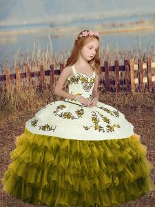 New Style Olive Green Sleeveless Embroidery and Ruffles Floor Length Little Girl Pageant Dress
