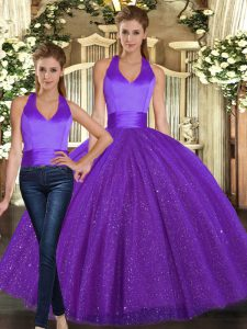 Excellent Purple Halter Top Neckline Ruching Quince Ball Gowns Sleeveless Lace Up