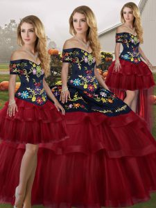 Wine Red Sleeveless Brush Train Embroidery and Ruffled Layers Quinceanera Dress
