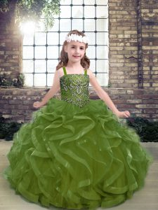 Fashionable Olive Green Lace Up Pageant Dress for Teens Beading and Ruffles Sleeveless Floor Length