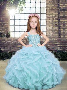 Straps Sleeveless Little Girls Pageant Dress Wholesale Floor Length Beading and Ruffles Light Blue Tulle