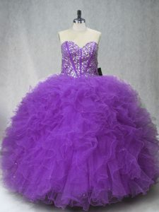 Pretty Beading and Ruffles Sweet 16 Quinceanera Dress Purple Lace Up Sleeveless Floor Length