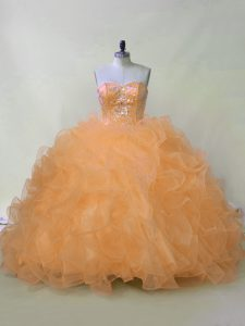 Modern Orange Ball Gowns Beading and Ruffles Quinceanera Dresses Lace Up Organza Sleeveless
