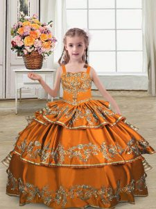 Custom Fit Orange Satin Lace Up Pageant Dress Toddler Sleeveless Floor Length Embroidery and Ruffled Layers