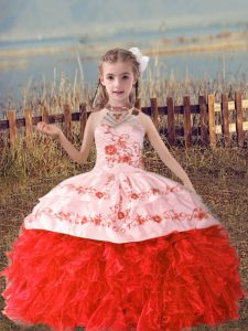 Beautiful Floor Length Lace Up Pageant Gowns Coral Red for Wedding Party with Beading and Embroidery and Ruffles