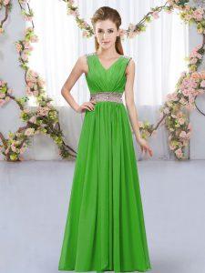 Edgy Green Chiffon Lace Up V-neck Sleeveless Floor Length Dama Dress Beading and Belt