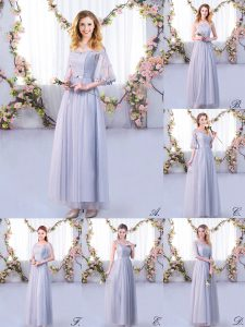 Discount Half Sleeves Tulle Floor Length Side Zipper Vestidos de Damas in Grey with Lace and Belt