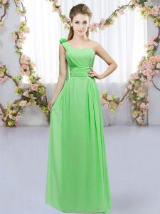 Empire Dama Dress One Shoulder Chiffon Sleeveless Floor Length Lace Up
