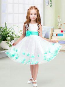 Stylish Knee Length A-line Sleeveless White Kids Pageant Dress Zipper