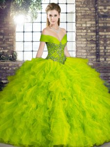 Gorgeous Tulle Sleeveless Floor Length 15 Quinceanera Dress and Beading and Ruffles