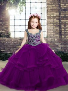 High Quality Sleeveless Beading Lace Up Winning Pageant Gowns