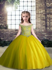 Fine Olive Green Sleeveless Tulle Lace Up Pageant Gowns For Girls for Party and Wedding Party