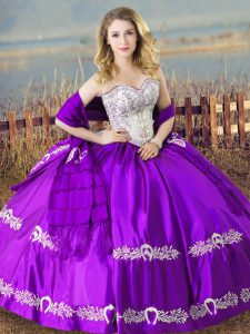 Noble Sleeveless Lace Up Floor Length Beading and Embroidery Quinceanera Gowns