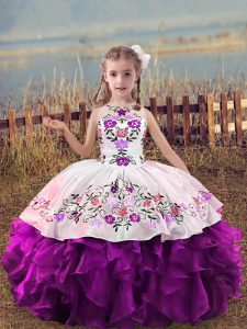 Purple Ball Gowns Organza Scoop Sleeveless Embroidery and Ruffles Floor Length Lace Up Pageant Dresses