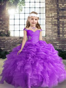 Purple Straps Neckline Beading and Ruffles and Pick Ups Pageant Gowns Sleeveless Lace Up