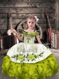 Comfortable Floor Length Olive Green Child Pageant Dress Off The Shoulder Sleeveless Lace Up