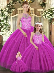 New Arrival Fuchsia Lace Up Halter Top Beading Quinceanera Gowns Tulle Sleeveless