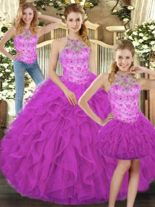Amazing Halter Top Sleeveless Tulle 15 Quinceanera Dress Beading and Ruffles Lace Up