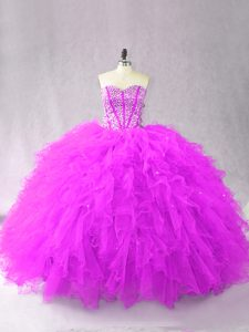 Sweetheart Sleeveless Quinceanera Gown Floor Length Beading and Ruffles Purple Tulle