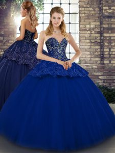 Tulle Sweetheart Sleeveless Lace Up Beading and Appliques Vestidos de Quinceanera in Royal Blue