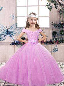 Cheap Lilac Sleeveless Floor Length Lace and Belt Lace Up Girls Pageant Dresses