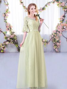 Glorious Yellow Green Tulle Side Zipper Dama Dress for Quinceanera Half Sleeves Floor Length Lace and Belt