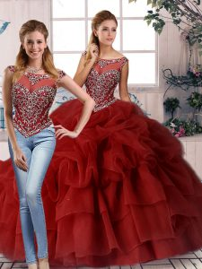 Discount Wine Red Sleeveless Beading and Pick Ups Zipper Quinceanera Gown
