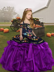 Sleeveless Lace Up Floor Length Embroidery Child Pageant Dress