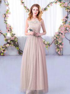 Exquisite Floor Length Empire Sleeveless Pink Quinceanera Court of Honor Dress Side Zipper