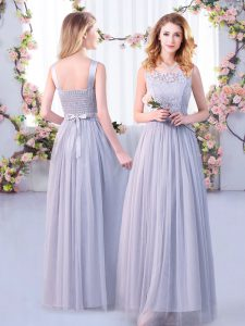 Simple Sleeveless Floor Length Lace and Belt Side Zipper Dama Dress for Quinceanera with Grey