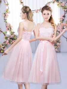 Baby Pink Empire Lace and Belt Dama Dress Lace Up Tulle Sleeveless Tea Length