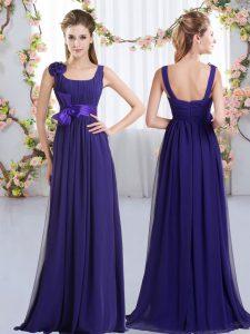Custom Fit Purple Sleeveless Floor Length Belt and Hand Made Flower Zipper Damas Dress