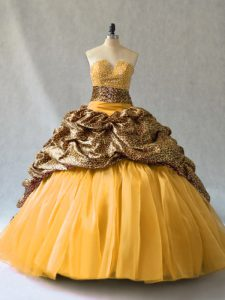 Gold V-neck Neckline Beading and Pick Ups Ball Gown Prom Dress Sleeveless Lace Up