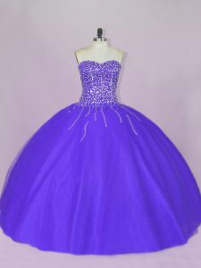 Decent Blue and Purple Tulle Lace Up Ball Gown Prom Dress Sleeveless Floor Length Beading