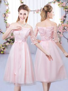 Suitable Tea Length Lace Up Quinceanera Dama Dress Baby Pink for Wedding Party with Lace and Belt