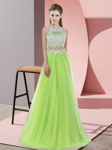 Yellow Green Quinceanera Dama Dress Wedding Party with Lace Halter Top Sleeveless Zipper