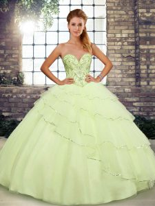 Cute Sleeveless Brush Train Beading and Ruffled Layers Lace Up Quinceanera Gowns