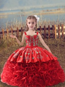 Luxurious Red Straps Neckline Embroidery Kids Pageant Dress Sleeveless Lace Up