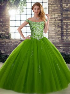 Noble Off The Shoulder Sleeveless Tulle Quince Ball Gowns Beading Lace Up