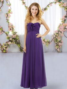 Nice Floor Length Empire Sleeveless Purple Quinceanera Court Dresses Lace Up