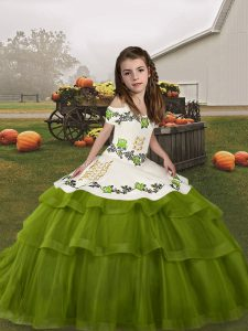 Olive Green Ball Gowns Straps Sleeveless Tulle Floor Length Lace Up Embroidery and Ruffled Layers Pageant Dress for Teens
