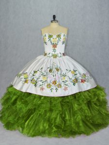 Charming Organza Sleeveless Floor Length Sweet 16 Dress and Embroidery and Ruffles
