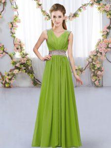 Trendy Beading and Belt Vestidos de Damas Olive Green Lace Up Sleeveless Floor Length